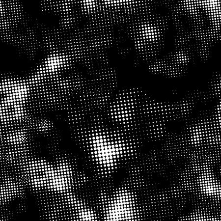 Retro white halftone ink print, seamless pattern on black background