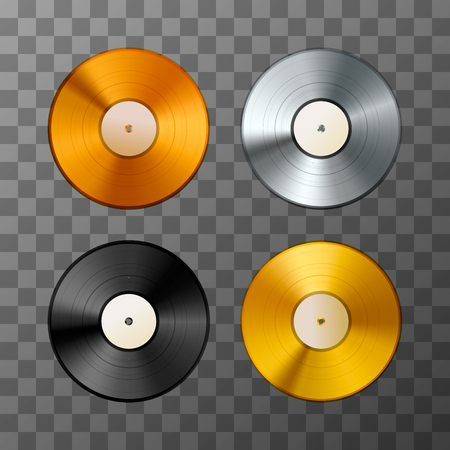 disk jockey: Set of golden, platinum and bronze album, vinyl discs Illustration