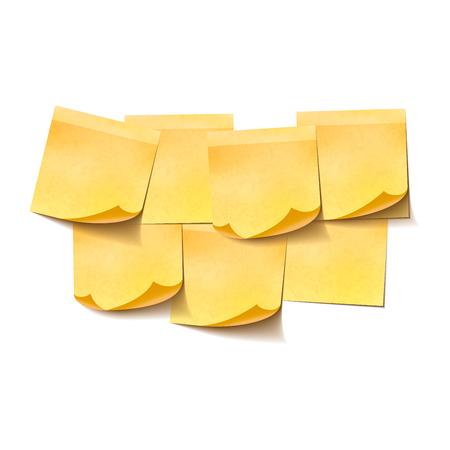 Set of yellow empty sticky notes on white Illustration