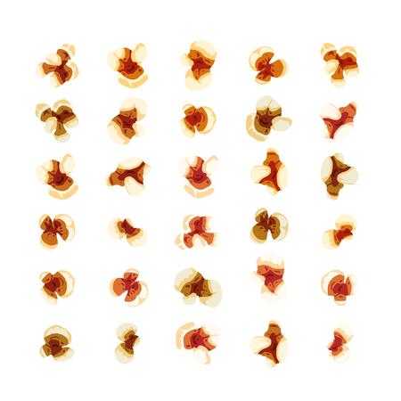 Set of realistic bright popcorn on white Illustration