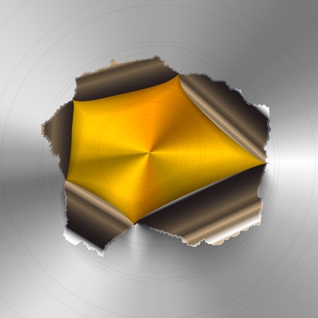 Torn hole in glossy round polished metal plate on golden background Stock Illustratie