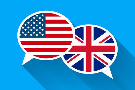Deux bulles blanches avec des drapeaux américains et de la Grande-Bretagne. Illustration conceptuelle de langue anglaise Banque d'images - 76970624