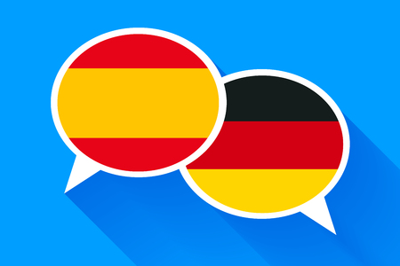 vs: Two white speech bubbles with Spain and German flags. English language conceptual illustration Illustration