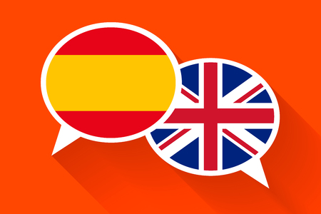 Two white speech bubbles with Spain and Great britain flags. English language conceptual illustration Illustration