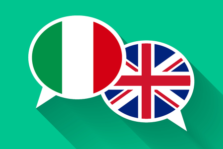 bilingual: Two white speech bubbles with Italian and Great britain flags. English language conceptual illustration