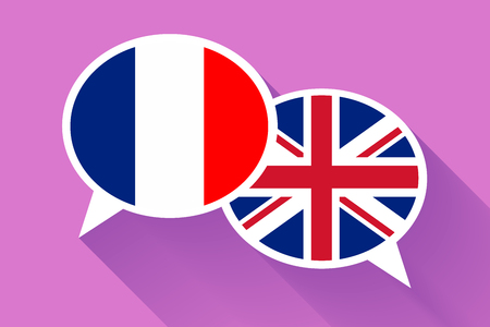 Two white speech bubbles with France and Great britain flags. English language conceptual illustration