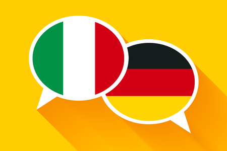 polyglot: Two white speech bubbles with Italian and German flags. English language conceptual illustration. Illustration