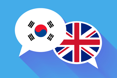 foreign nation: Two white speech bubbles with South Korea and Great britain flags. English language conceptual illustration Illustration