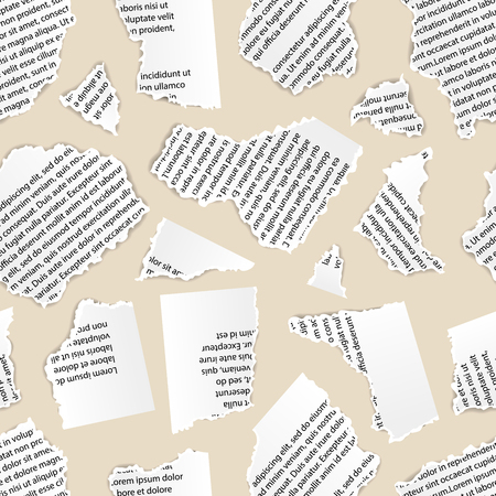 White torn paper pieces of text document on beige background, seamless pattern Illustration