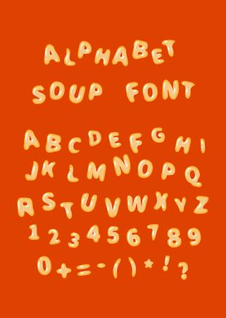 Alfabet zupa font, łacińskie litery na czerwono Ilustracje wektorowe