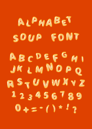 Alphabet soup font, latin letters on red Vectores