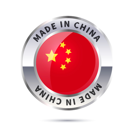 Glossy metal badge icon, made in China with flag Illustration