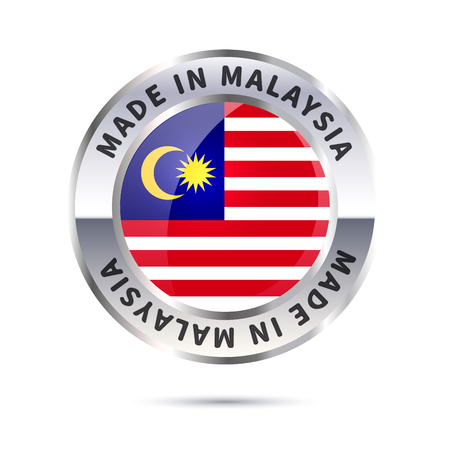 Metal badge icon, made in Malaysia with flag Illustration