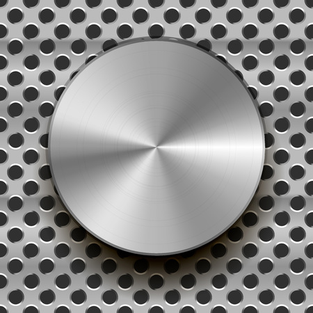 Glossy metal knob on grid
