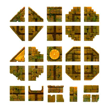 Cartoon ancient bricks, game art isolated on white Illustration