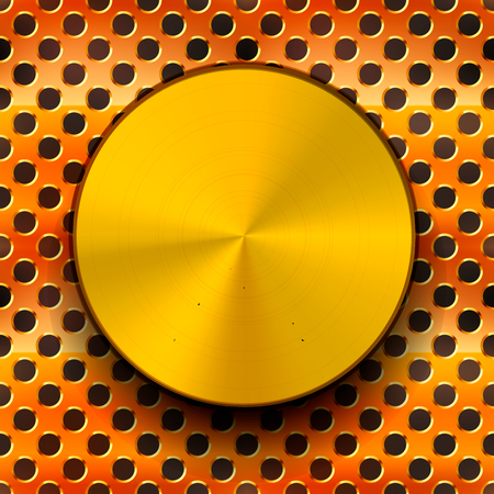 metal grid: Glossy polished gold metal knob with shadow on copper grid