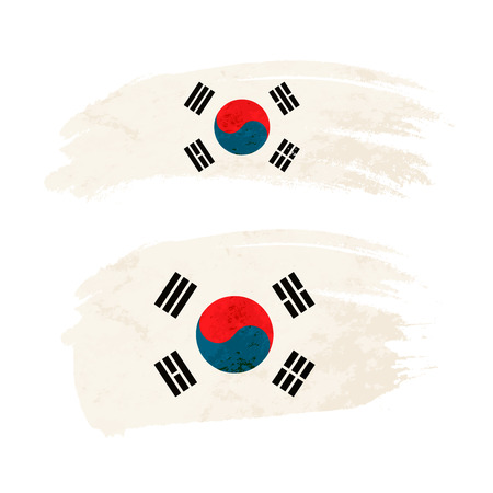 Grunge brush stroke with South Korea national flag on white