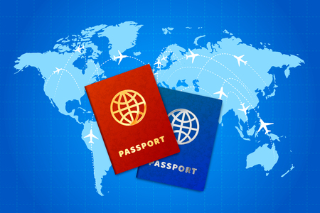 Couple passports on world map with airline routes