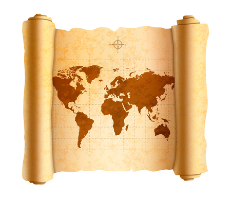 Realistic ancient world map on old textured scroll on white