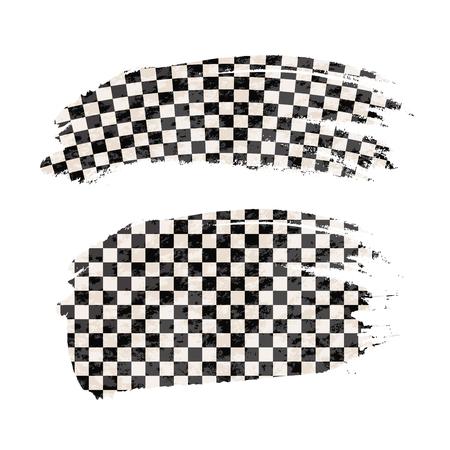 Grunge brush stroke with finish flag on white