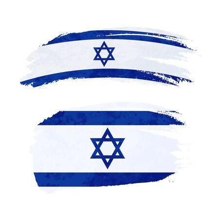 Grunge brush stroke with Israel national flag isolated on white