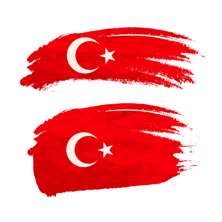 Grunge brush stroke with Turkey national flag isolated on white