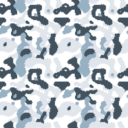 navy blue background: Pixelated camouflage pattern to disguise in snow.