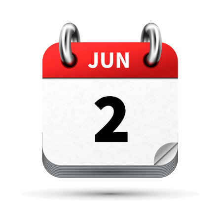 Bright realistic icon of calendar with 2 june date isolated on white
