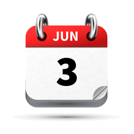 Bright realistic icon of calendar with 3 june date isolated on white