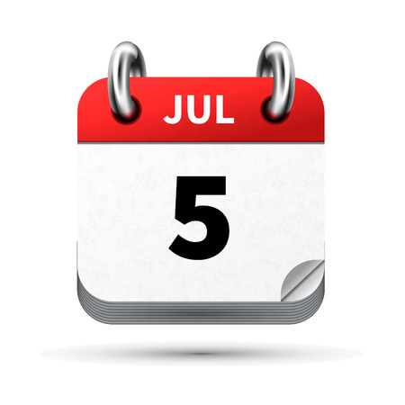 Bright realistic icon of calendar with 5 july date on white