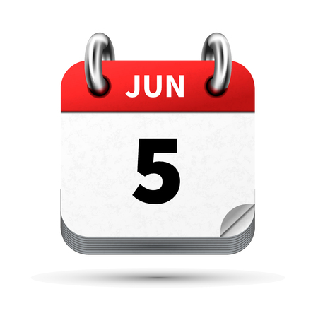 Bright realistic icon of calendar with 5 june date isolated on white