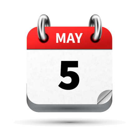 Bright realistic icon of calendar with 5 may date on white