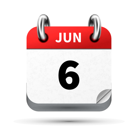 calendar icon: Bright realistic icon of calendar with 6 june date isolated on white