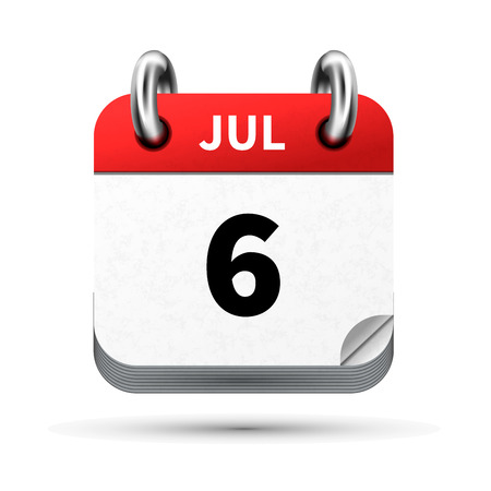 calendar icon: Bright realistic icon of calendar with 6 july date on white