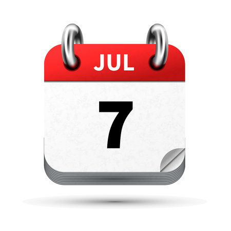 Bright realistic icon of calendar with 7 july date on white Çizim