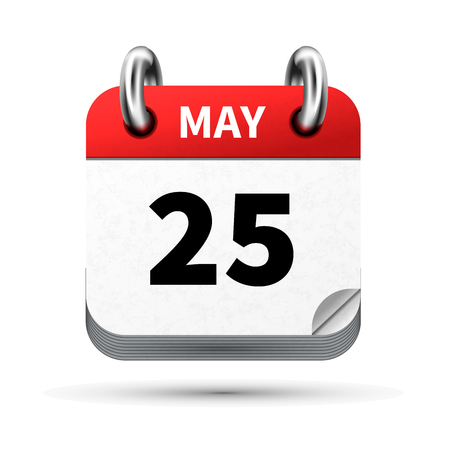 Bright realistic icon of calendar with 25 may date on white