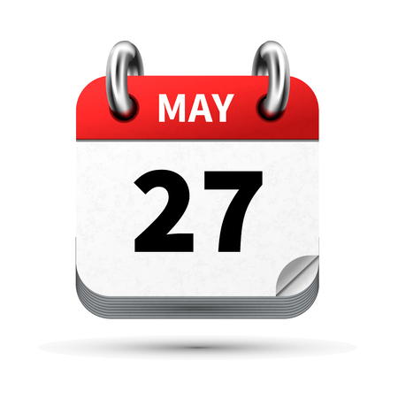 27: Bright realistic icon of calendar with 27 may date isolated on white Illustration