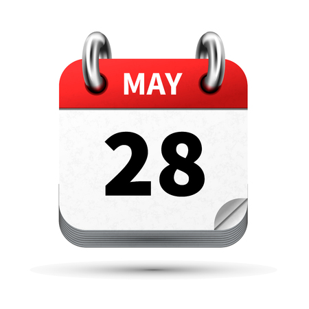 calendar icon: Bright realistic icon of calendar with 28 may date isolated on white Illustration