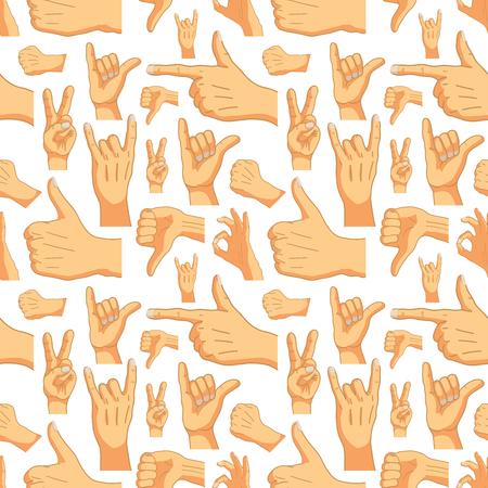 Common cartoon hand signs on white, seamless pattern Illustration