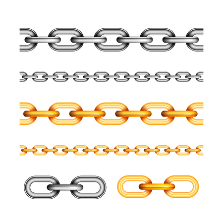 Set of different seamless chains on white Illustration