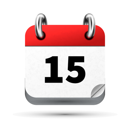 Bright realistic icon of calendar with 15th date on white background.