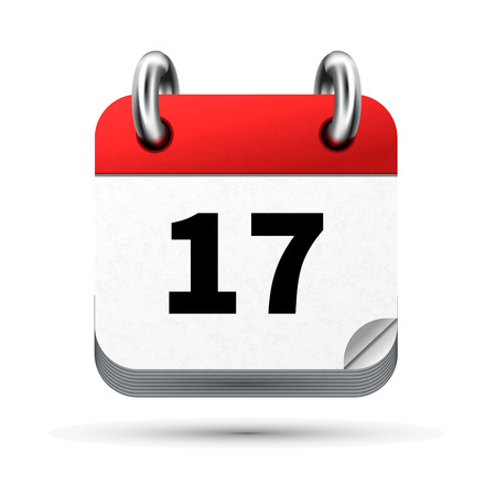 Bright realistic icon of calendar with 17th date on white background.