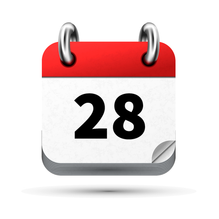 annual ring annual ring: Bright realistic icon of calendar with 28th date on white Illustration