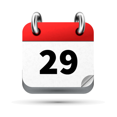 Bright realistic icon of calendar with 29th date on white