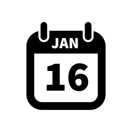 Simple black calendar icon with 16 january date on white