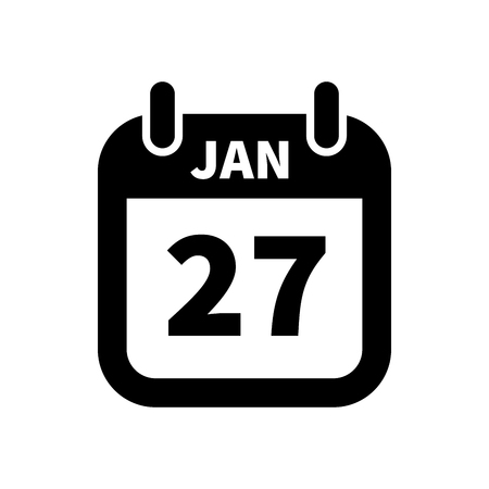 Simple black calendar icon with 27 january date on white