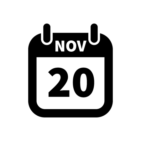 Simple black calendar icon with 20 november date on white