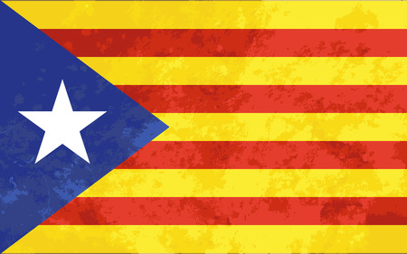 Bright colourfull Catalonia flag with grunge texture Illustration