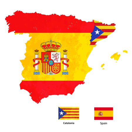 Spain map with flags icon. Illustration