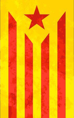 Estelada roja, bright Catalonia flag with texture.